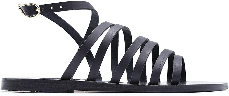 ANCIENT GREEK SANDALS Women's KORKIRABLACK Black Leather Sandals