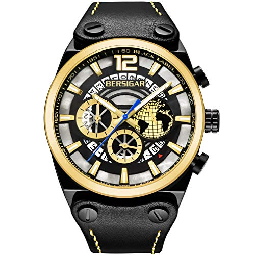 BERSIGAR Sport - Reloj de pulsera para hombre, impermeable, cronógrafo, estilo punk, correa de piel negra, con fecha