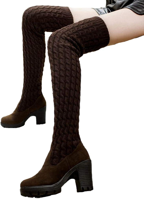 Winter Thigh High Boots Women Spring Autumn Knitting Wool Ladies Long Boot High Heels Platform shoes
