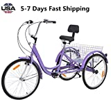 US Fast Shipment Adult Tricycles Seven Speed, Multiple Speeds, 24-inch 3-Wheels, Cargo Basket, Three-Wheeled Bicycles Cruise Trike with Shopping Basket for Seniors, Women, Men (Purple)