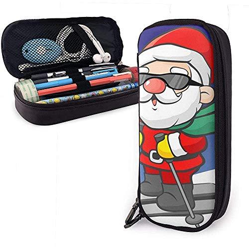 Estuche para lápices Santa de esquí, bolsa de lápices de gran capacidad con cremallera duradera Bolso de papelería para estudiantes