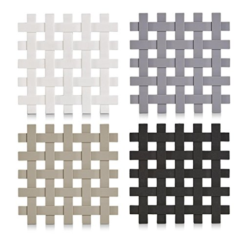 Zeller 27232 Silikon Topf-Untersetzer Set 4-teilig, 17 x 17 cm, hitzebeständig und rutschfest, Pfannen-Untersetzer quadratisch; 4er Set - je 1 Stück pro Farbe