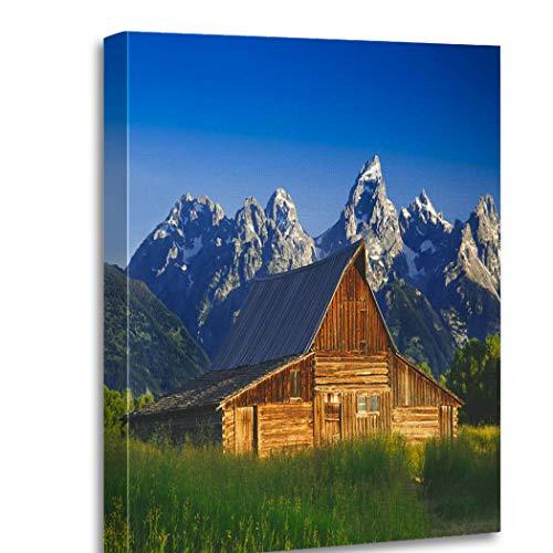 Heyqqo Canvas Print Moulton Barn Teton Mountain Range Grand Wood Frame Wall Art Design Template Artwork Framed Gift Decor Interior For Bed Living Room 16'X20'