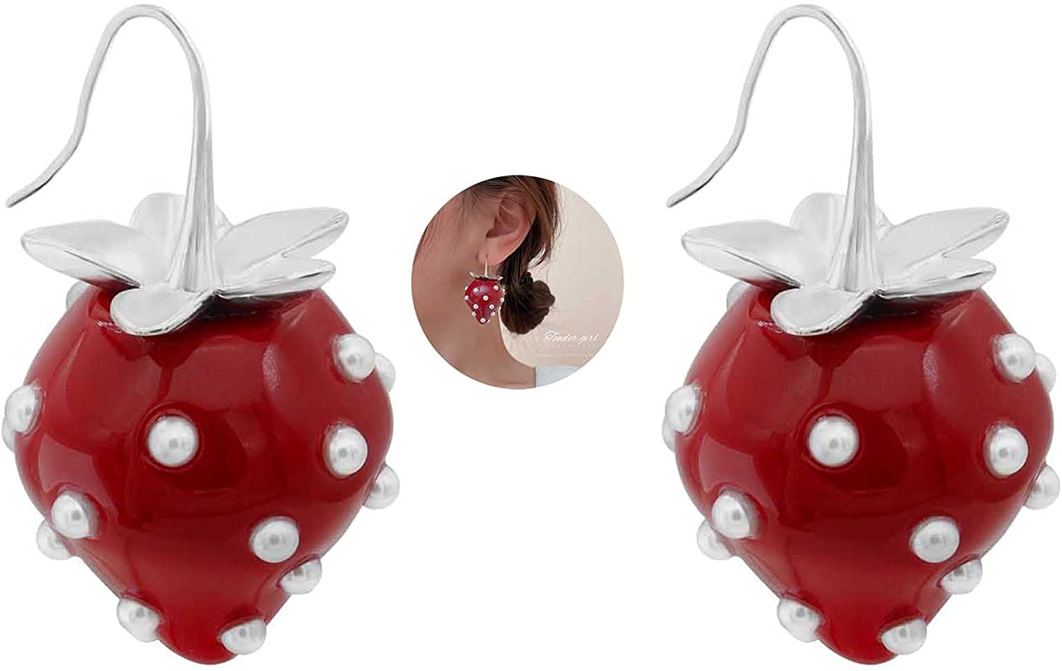 Strawberry Earring - Cute Stereoscopic Red Strawberry Dangle Earring, Big Simulated Fruit 3d Strawberry Acrylic Strawberry Earring