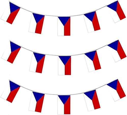 HANDEL = GESCH E = VEREINE = GRUPPEN = CZECHOSLOVAKIA WIMPEL 100 GIRLANDEN JEDE IST 10 METER LANG UND JEDE EINZELNE FLAGGE HAT DIE MA VON 20X30cm DEKORATION SPORT PARTY PLASTIK