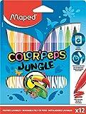 Maped - Feutres Jungle Color'Peps - 12 Feutres de Coloriage - Lavables et Résistants au Séchage - Pointe Moyenne Bloquée - Couleurs Vives - Idéal Fournitures Rentrée Scolaire - Pochette Carton
