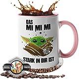 handmade Tasse mit Spruch - Geschenk - [Lebenslange Farbgarantie] - Das Mimimi stark in dir - Geschenk - Beste Fre&in - 100prozent Spülmaschinenfest (weiß-pink)