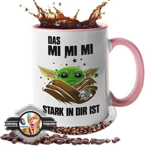 handmade Tasse mit Spruch - Geschenk - [Lebenslange Farbgarantie] - Das Mimimi stark in dir - Geschenk - Beste Freundin - 100% Spülmaschinenfest (weiß-pink)