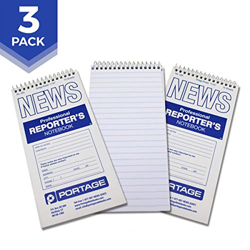 """Portage Reporter's Notebook – #200 Gregg Ruled 4"""" x 8"""" Professional Spiral Notebook for Taking Notes in the Field - 140 Pages (3 Pack)"""