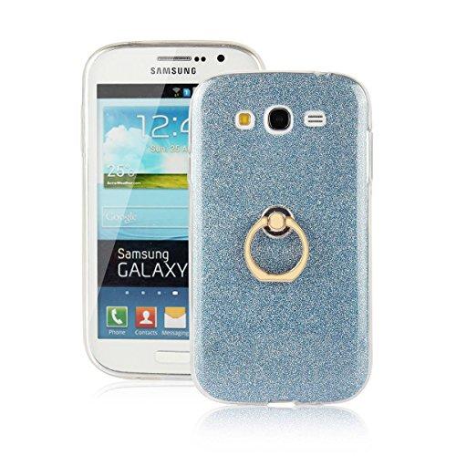 pinlu® Etui Schutzhülle Für Samsung Galaxy Grand Neo Plus/Grand Neo (i9060) Soft Silikon TPU Ultra Thin Protective Cover Glitzer Rück mit Abnehmbarer Boden Skin und Ring-Schnalle Design Blau