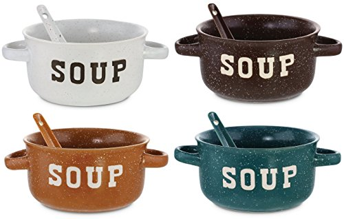 Set of 4 Speckled Ceramic Soup Bowls With Spoons