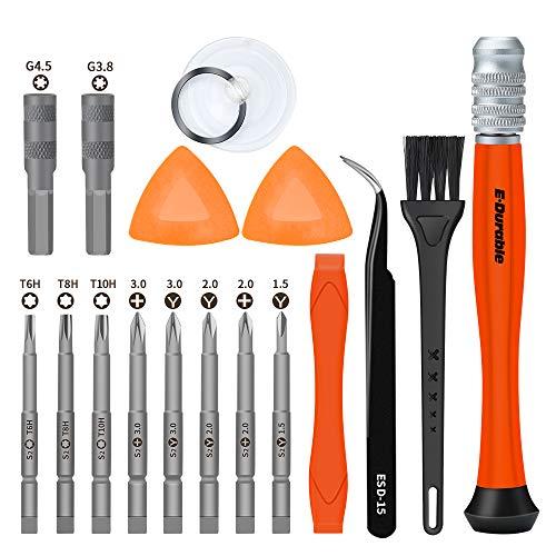 E·Durable destornillador precisión 17 en 1 bit herramienta de reparación kit de herramientas para Joycon/Wii/GBA con bolsa tejida