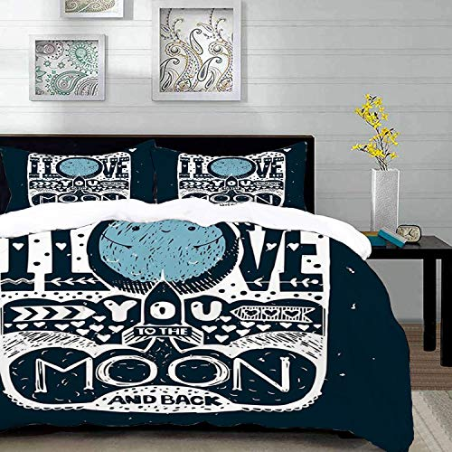 Bedding Juego de Funda de Edredón,Microfibra -I Love You, mensaje romántico de Space Galaxy con efectos de estrell - Funda de Nórdico y Fundas de Almohada - (Cama 220 x 240cm + Almohada 63X63cm)