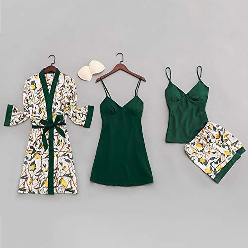 JFCDB Zomer pyjama,Zomer Sexy Dames Pyjama met Borstkussentjes Print Dames Nachtkleding Vierdelige Riem Satijnen Pyjama, groen, XL