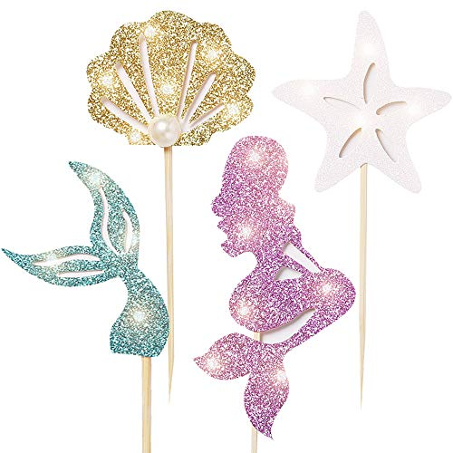 Mermaid Party Decoration Favor Supplies-Cupcake Topper, (24pcs(4...