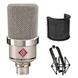 Neumann TLM-102 Large Diaphragm Studio Condenser Microphone (Nickel) with Suspension Shockmount & Pop Filter