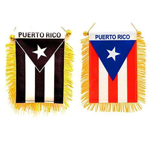 Set of 2 Puerto Rico Window Hanging Flags - Rear View Mirror & Double Sided - 1 Black & White. 1 Red & White