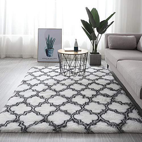 Leesentec Hochflor Teppich Wohnzimmerteppich Langflor - Flauschig Teppiche für Wohnzimmer und Schlafzimmer - Modern Design Shaggy Teppich (Hellweiß, 160 x 200 cm)