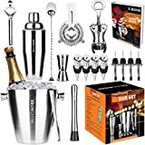 Bar Set 17pcs Ice Bucket 3½qt Bartender Kit. Premium Cocktail Set Mixology Kit for Bar and Home. All-In-One Cocktail Shaker Set. Bartender Mixology Barware Set for Men and Women. Bar Tools Martini Kit
