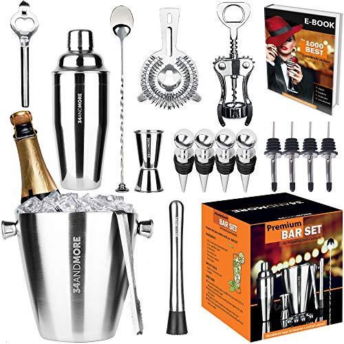 Bartender Kit Ice Bucket 3½qt 17pcs. Premium Cocktail Set Mixology Kit for Bar or Home. Stainless Steel Cocktail Shaker Set. Bartender E-Book, Alcohol Mixer Set for Men, Women. Drink Accessories Tools