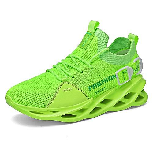 GSLMOLN Herren Laufschuhe Sportschuhe Trainers Sneaker Joggingschuhe Turnschuhe Freizeitschuhe rutschfeste Schuhe Mesh-Schuhe Grün 43