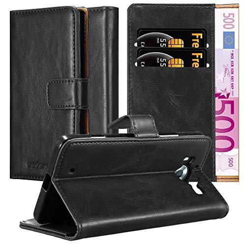 Cadorabo Hülle für Nokia Lumia 950 - Hülle in Graphit SCHWARZ – Handyhülle im Luxury Design mit Kartenfach & Standfunktion - Case Cover Schutzhülle Etui Tasche Book