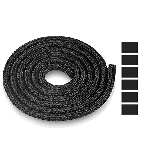 AGPTEK Kabelschlauch, selbstschließender Kabelschutz, gewebter und zuschneidbar Kabelmantel mit 6 stabile Schrumpfschläuche, flexibel 6m, Durchmesser 5-10mm, für Ladekabel, Fahrrad und Auto, Schwarz