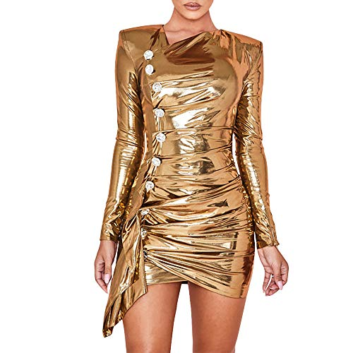 HLBandage Women's Sexy Bodycon Long Sleeve Sparkly Back Zipper Bandage Dress Slim Fit for Party Club Night (M, Gold)