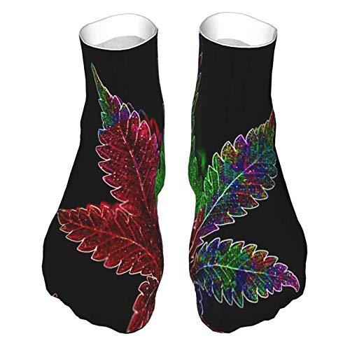 Calcetines de corte bajo que absorben la humedad, calcetines de tobillo deportivos para mujer y hombre, marihuana, plantas suaves, calcetines para botas