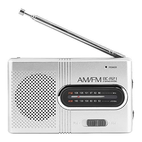 BC-R21 Altavoz Portátil con Radio Am FM Mini Radio Receptor FM con Auriculares Antena Telescópica Altavoz para Caminar Senderismo Running