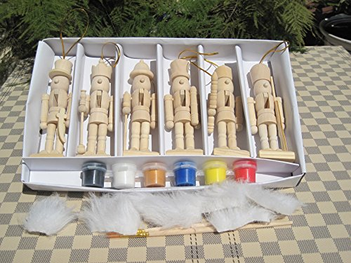6pro Set blanko Soldier Nussknackern, Malerei Kits 12,7cm/12cm hoch, Ihr eigenes Nussknackern