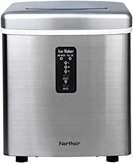 Northair Automatic Ice Maker 35lbs Per Day, Stainless Steel Finish Portable Ice Making Machine Compact, 7-15 Minutes High Efficiently Creates 9Ice, S-M-L 3 Size Bullet Ice with Ice Scoop/Instructions