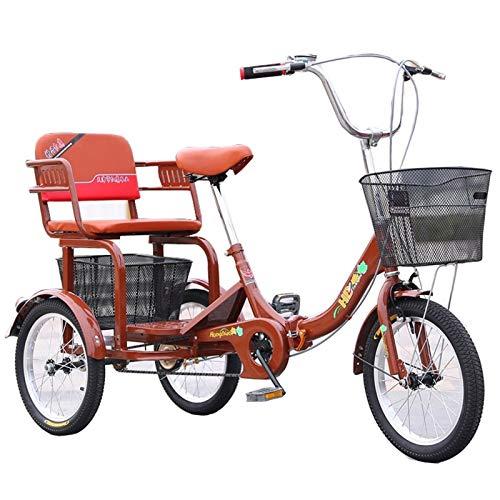SN 16 Pulgadas De Triciclos Adultos, Bicicletas 3 Ruedas Trikes, Bicicletas Tres Ruedas para Personas Mayores Hombres Rojos con Asiento Trasero Y Canasta Compras (Color : Brown)