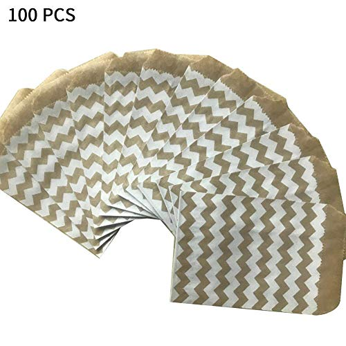 Geschenktüte, Schöne Gemusterte Geschenktüten Kraftpapier Verpackungstüte Für Süßigkeiten, Kekse, Nüsse, Pralinen, Wedding-100PCS, 3 Modell