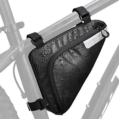 Fahrrad Dreiecktasche - Fahrrad Rahmentasche, Wasserdicht Reflektierende Fahrrad Tasche,für MTB, Rennräder Fahrradzubehör 1,5L Schwarz