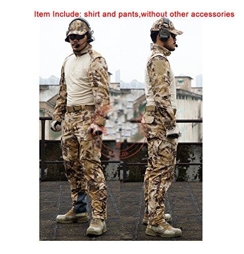 ATAIRSOFT Tactique Hommes BDU Combat Uniforme Chemise & Pantalons Costume pour extérieur armée Militaire Airsoft Paintball Jeu de Guerre Tournage HLD, Grand L