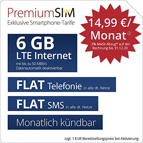 PremiumSIM LTE L Allnet Flat - monatlich kündbar (FLAT Internet 6 GB LTE mit max. 50 MBit/s mit deaktivierbarer Datenautomatik, FLAT Telefonie, FLAT SMS und EU-Ausland 14,99 Euro/Monat)