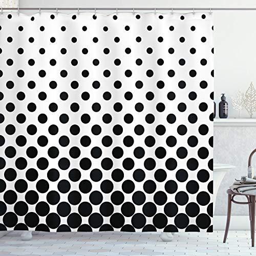 ABAKUHAUS, Weiß, Duschvorhang, Minimalistische Polka Dots, Leicht zu pflegener Stoff mit 12 Haken Wasserdicht Farbfest Bakterie Resistent, 175 x 220 cm, Weiß