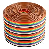 Cable plano de cinta Aramox, cable de paso de 1,27 mm de color, cable plano de cinta arcoíris de 40 p, ancho de línea de 5,08 cm(3 meter)