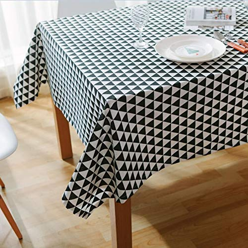 Epinki Mantel Triángulo de Geometría Blanco Negro Mantel Ropa de algodón para Cocina Dinning Party Tamaño 40x60CM