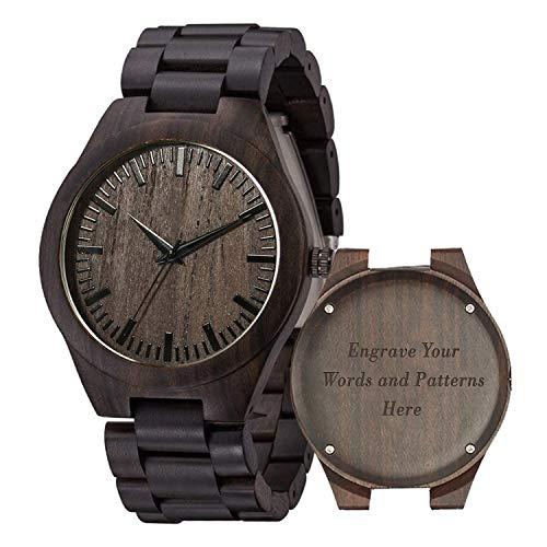 Holzuhren für Männer, Shifenmei Holzuhren natürliche handgemachte Analog Quarz japanische Uhrwerk und Batterie verstellbar Holz Armband leichte Holzuhren mit Exquisite Box (A-Customize6)