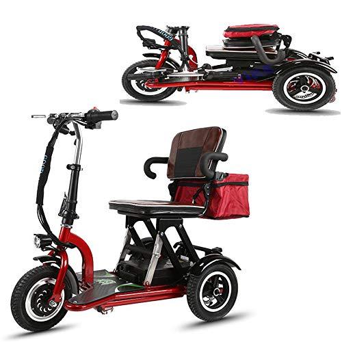 Smx Green Power Elektro-Dreirad-Roller, Faltbare beweglich Erwachsene Behinderte älteres Scooter Batterie-Auto, 48V / 20A-Lithium-Batterie, Rot