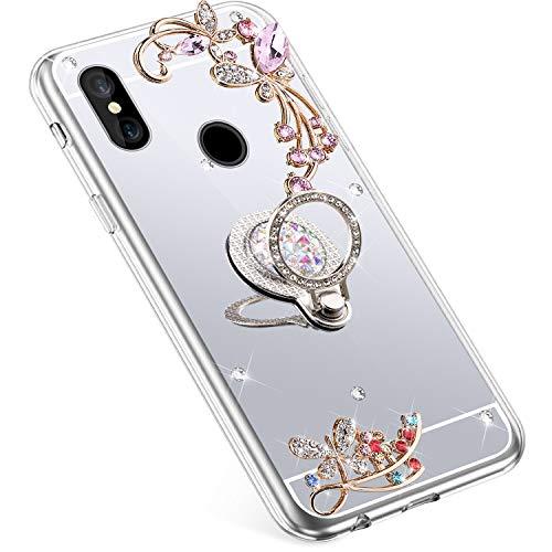 Uposao Kompatibel mit Xiaomi Redmi S2 Hülle Glitzer Spiegel TPU Schutzhülle Bling Strass Diamant Silikon Hülle Glänzend Kristall Blumen Silikon Handyhülle mit Ring Ständer Halter,Silber