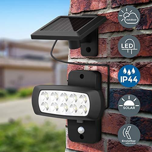 B.K.Licht | LED Außenstrahler mit Solar-Panel und Bewegungs- Dämmerungssensor | 6.500K | IP44 | für Garten, Hof und Garage I Solarlampe für Außen I Außenlampe I Außenleuchte