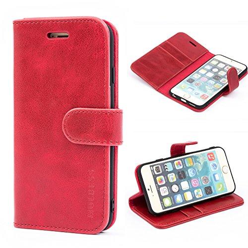Mulbess Handyhülle für iPhone 6S Hülle, iPhone 6 Hülle, Leder Flip Case Schutzhülle für iPhone 6s Tasche, Wein Rot