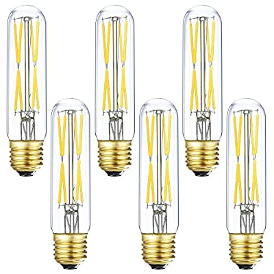 T10 Led Bulb, 8W Dimmable Led Tubular Bulbs, 75-100 Watt Incandescent Bulb Equivalent,850lm, Clear Glass, E26 Base Lamp Bulb, for Cabinet Display Cabinet etc. (4000K Daylight, 6-Pack)