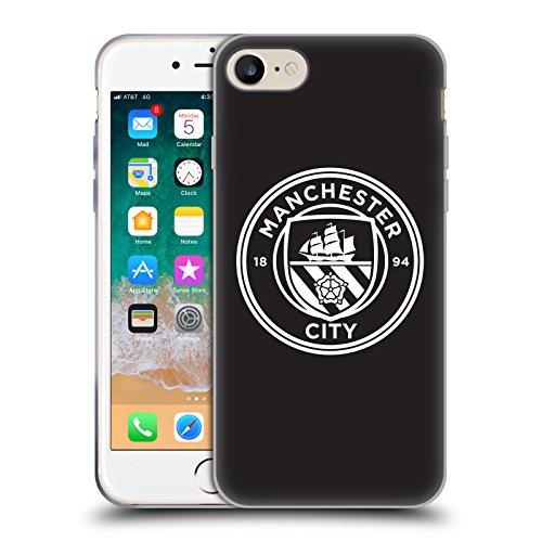 Head Case Designs sous Licence Officielle Manchester City Man City FC Contour Blanc Noir Badge Coque en Gel Doux Compatible avec Apple iPhone 7 / iPhone 8 / iPhone Se 2020