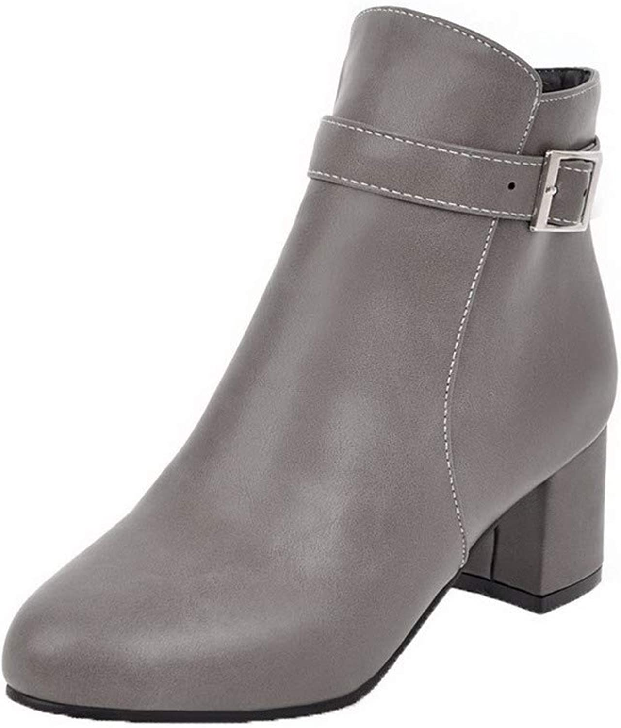 WeenFashion Women's Round-Toe Ankle-High Kitten-Heels Solid Pu Boots, AMGXX111150