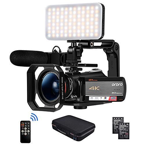 Videocámara Cámara de Video 4k, ORDRO HD 1080P 60FPS Vlog Camera Video Recorder 3.1 '' IPS WiFi Videocámara con Micrófono, luz LED, Lente Gran Angular, Soporte Portátil y Estuche Portátil