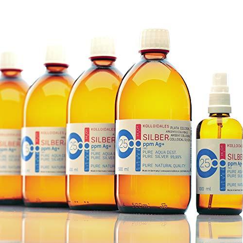 PureSilverH2O Kolloidales Silber 2100ml 25PPM (4 * 500ml) & Spray (100ml) Silberwasser 100% frisch & effektiv